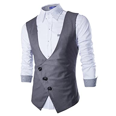 Boom Fashion Mode Gilet Veston Veste Costume Sans Manches Slim Homme  Branché (chemise Non inclus 6d2392a4bad