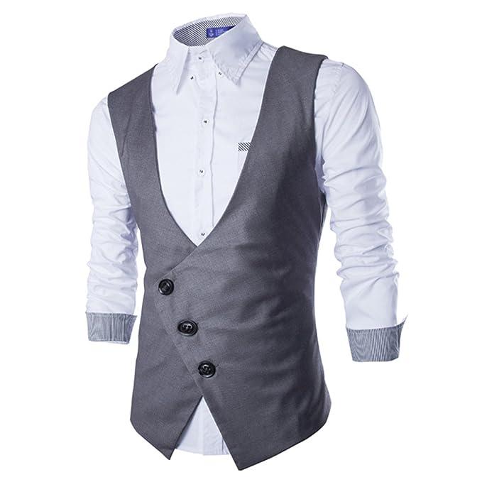 Boom Fashion Hombre Blazers Waistcoat Chaleco de Traje Sin Manga Slim Fit  Botones de Fila Sola Gris medium  Amazon.es  Ropa y accesorios 6456bca598f7