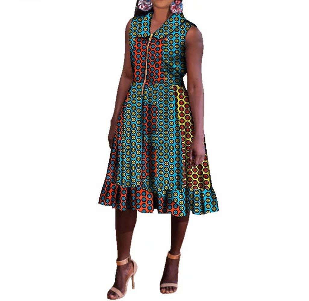 24fs1157 BintaRealWax Womens Casual Sleevelss African Shirt Dress Knee Length Ankara Aline Dress