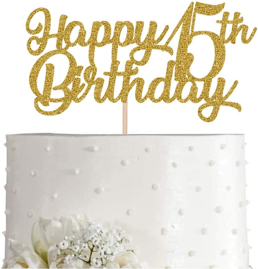 15th Birthday Cake Topper, Gold Glitter Cheers To 15 Years Party Decoration, Supply