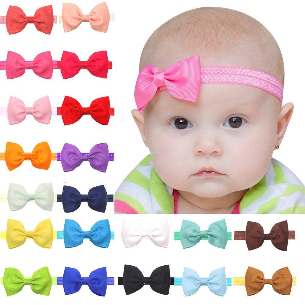 a78741dea2 Baby Girls Headbands 20Pcs Elastic Headbands with 3