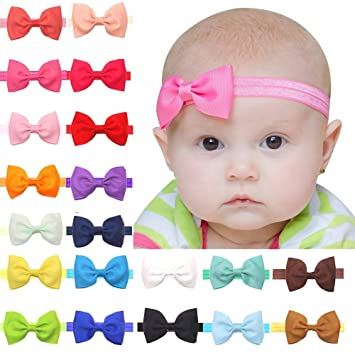 Baby Girls Headbands 20Pcs Elastic Headbands with 3 quot  Hair Bow (Hair ... 6d5fdd35a01