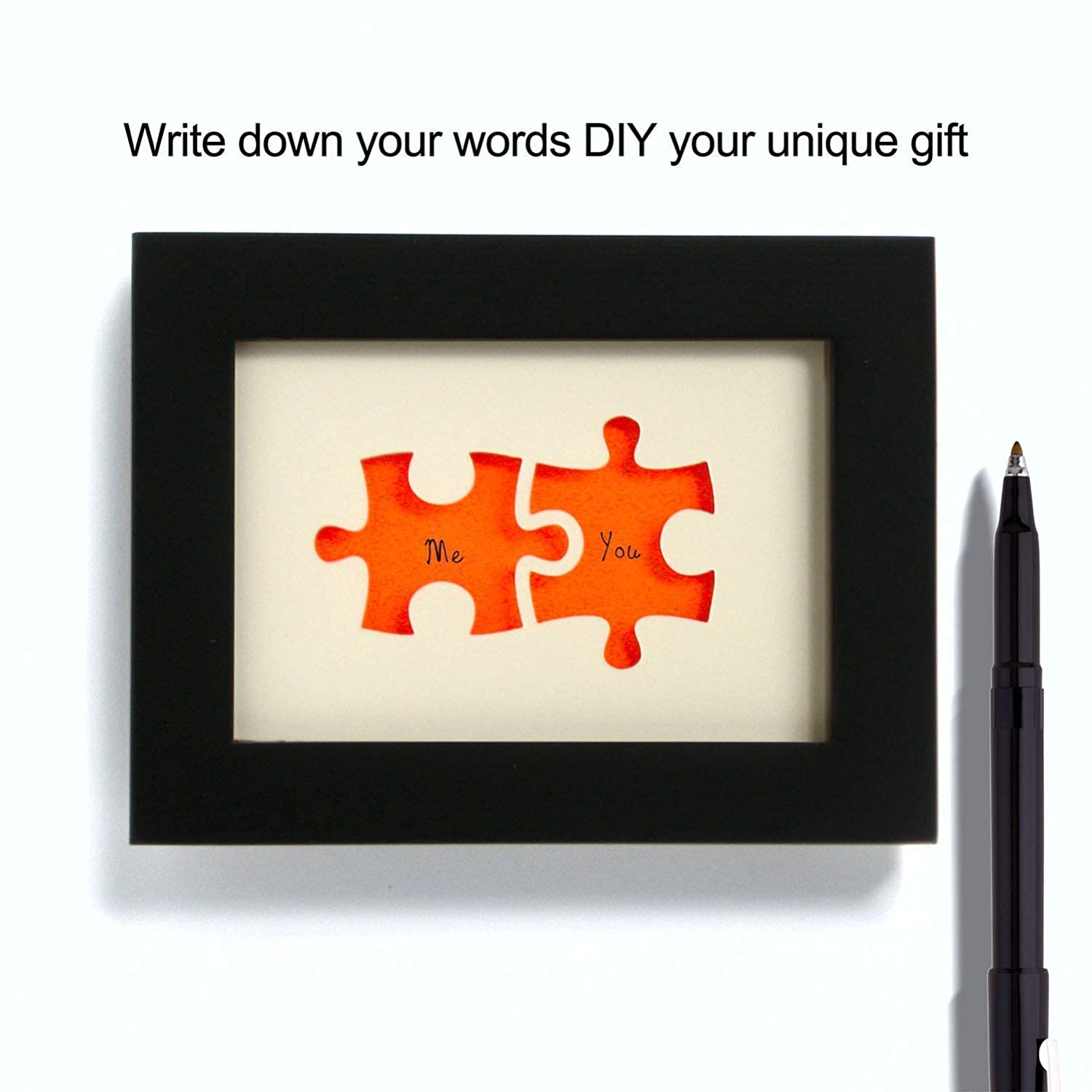 We fit together Puzzle Personalized Wedding Gift Glow in the Dark Paper Cut Art the Perfect Present for the Bride and Groom or Anniversary DIY the Name and Date Easily