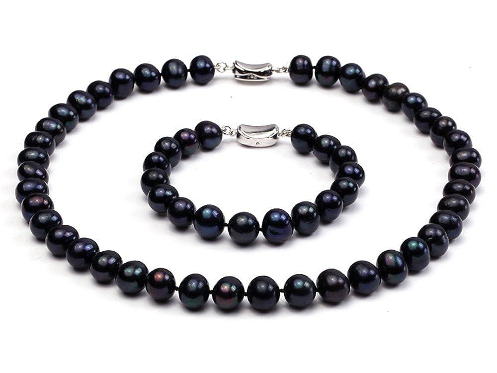 Jyx 10–11mm Noir Rond Collier de perles d'eau douce et bracelet Ensemble JYX Pearl RPS060