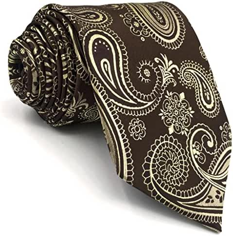 Shlax&Wing Mens Ties Brown Chocolate Paisley Neckties Silk New Design For Men