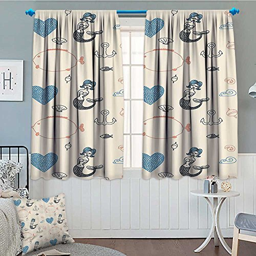 - Strongger Kids Decor Blackout Window Curtain Mermaid Balloon Fish Hearts Sea Objects.jpg Customized Curtains 72