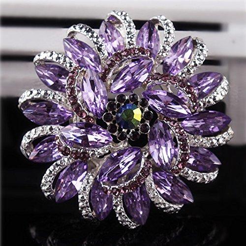 (Urberry Crystal Diamond Flower Brooch Pin for Women Girls Brides (Purple))