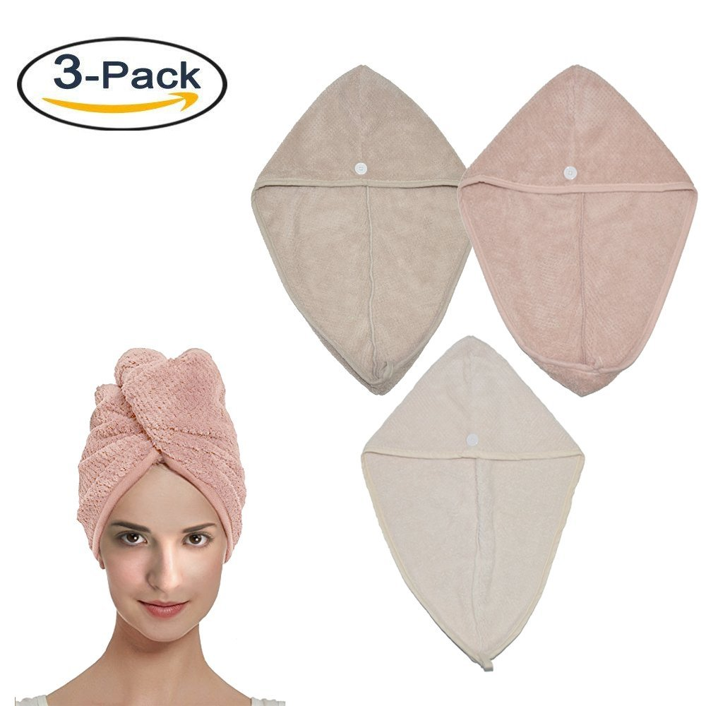 TourKing Hair Drying Towel with Button, Microfiber Hair Towel Wrap Drying Cap for Shower Quickly Drying Great Gift for Women(3-Pack,Beige+Khaki+Pink)
