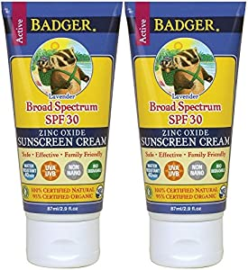 Badger Balm Lavender Sunscreen Cream- SPF 30 - 2.9 oz
