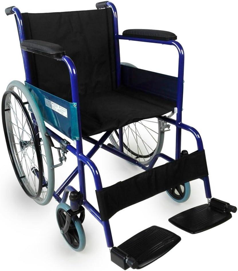 Mobiclinic, modelo Alcázar, Silla de ruedas ortopédica, plegable, para minusválidos, manual, de aluminio, freno en manetas, reposapiés y reposabrazos extraíbles, color Azul/Negro, asiento 46 cm