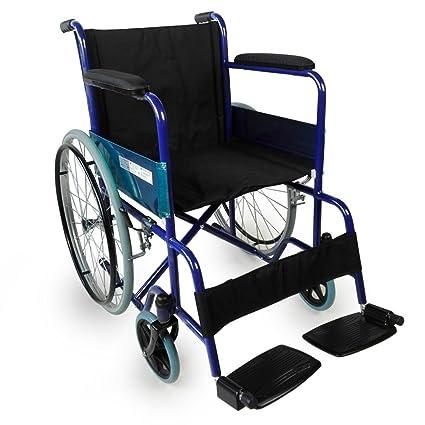 Silla de ruedas plegable | Manual | Ancho asiento 46 cm | azul | Alcázar | Mobiclinic