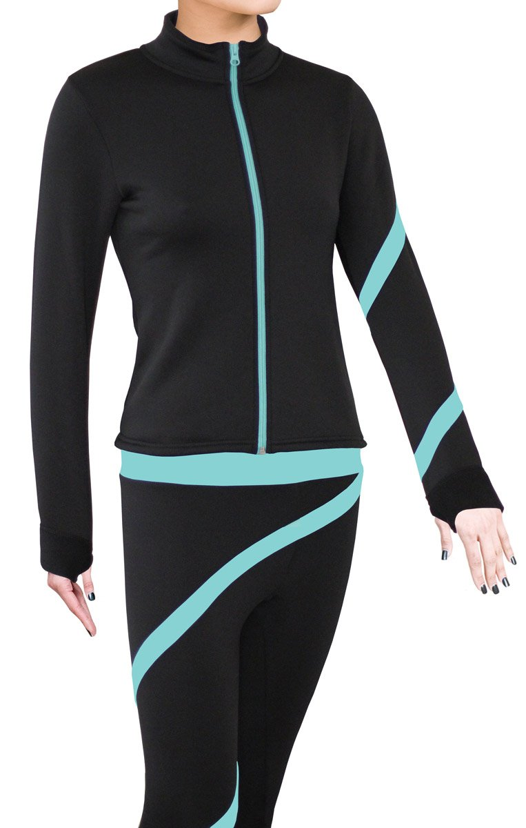 ny2 Sportswear Figure Skating Polartec Polar Fleece Spiral Jacket (Aqua, Child Large) by ny2 Sportswear