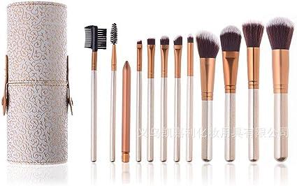 set de brochas para maquillaje Cubo de almacenamiento del juego de cepillos del cubo de maquillaje de 12 palos, modelo de garra de dragón de oro blanco 24: Amazon.es: Belleza