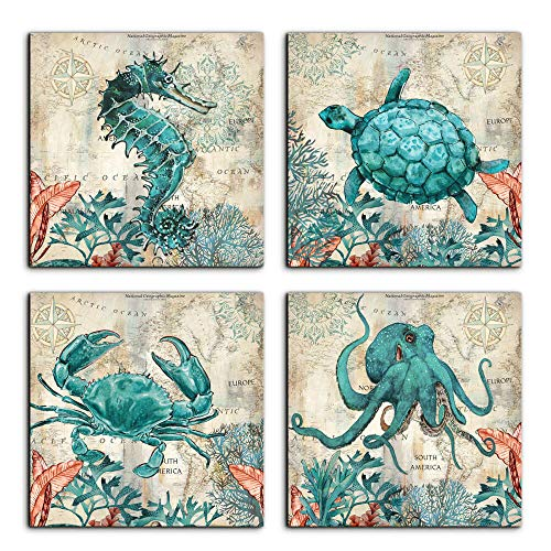 - Beach Coastal Wall Art Decor for Bathroom Canvas Print Picture Sea Turtle Horse Octopus Crab 4 Panel Framed Artwork Home Living Room Bedroom Wall Decoration 20x20inchx4