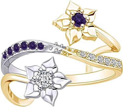 AFFY Flower Two Tone Adjustable Ring 14k Gold Over Sterling Silver
