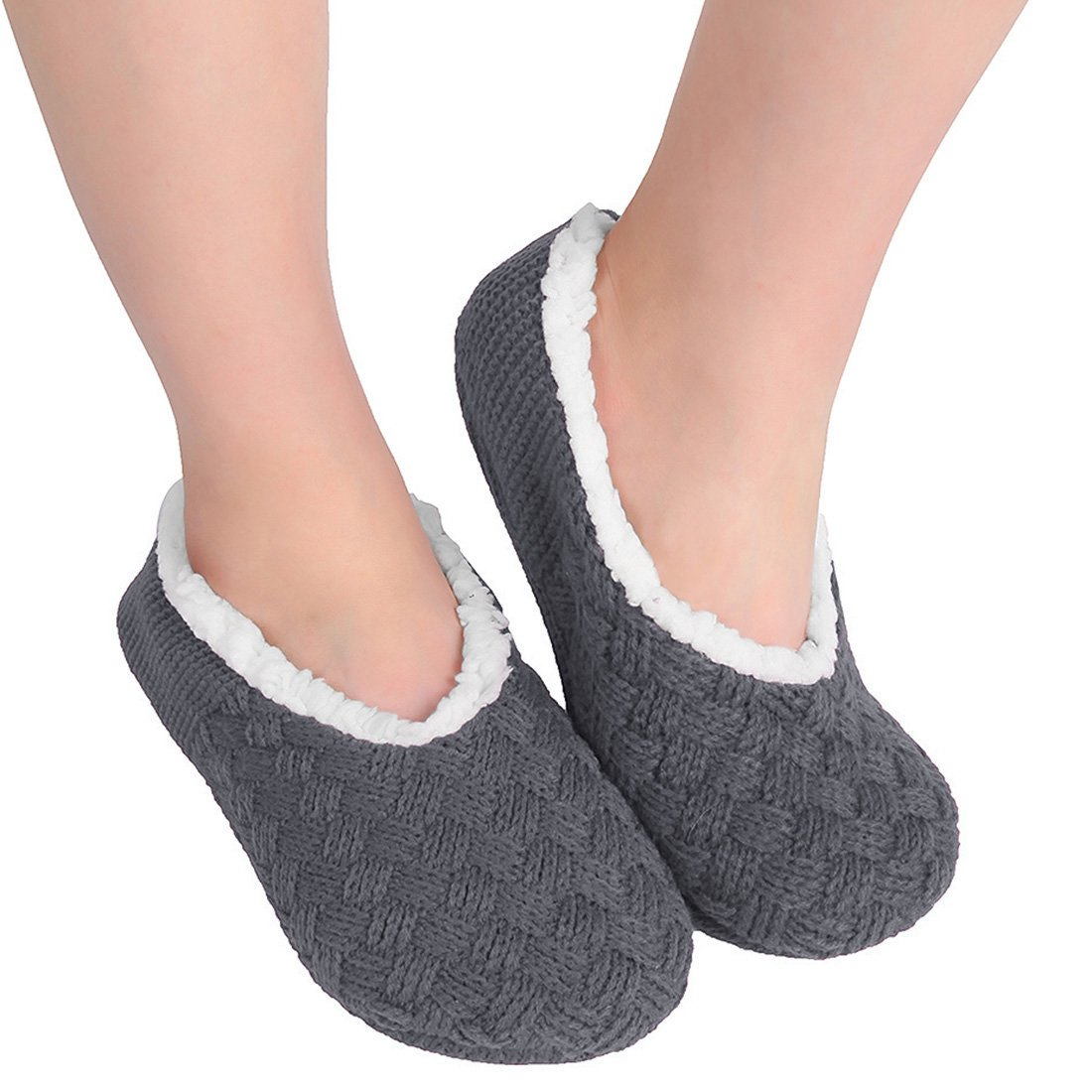 ChicNChic Women Cozy Warm Knit Non Slip Slipper Socks with Grippers Casual House Socks (8-9 B(M) US, Dark Grey)