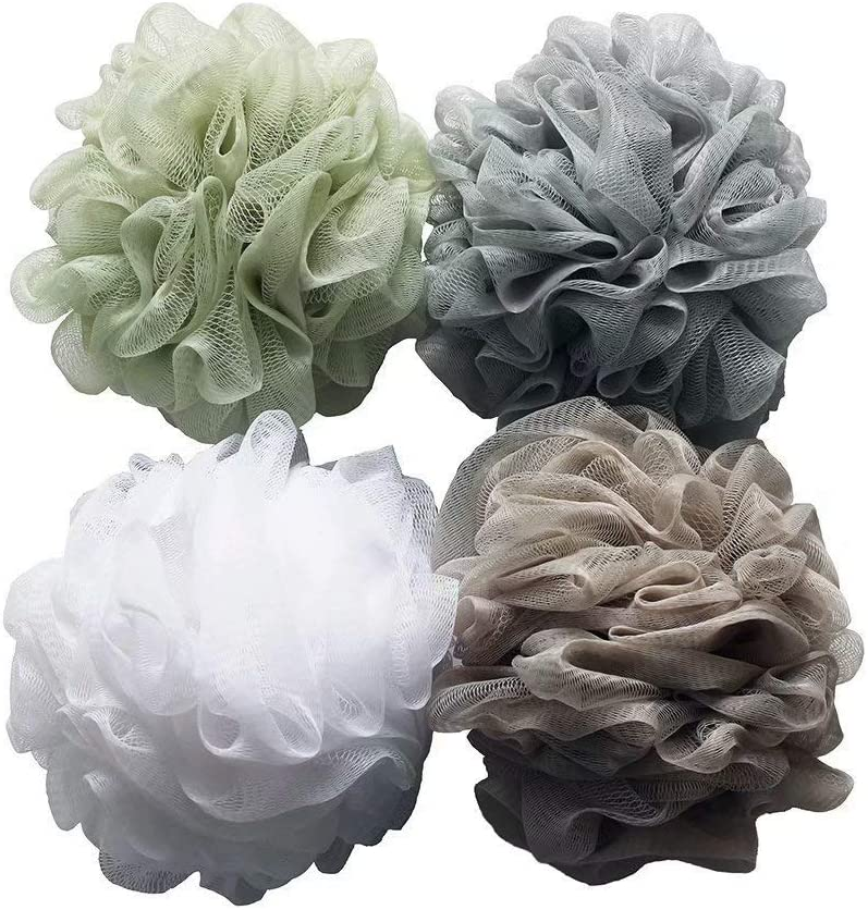 Bath Shower Sponge Loofahs (60g/pcs) Mesh Pouf Shower Ball, Mesh Bath and Shower Sponge Pack of 4: Beauty