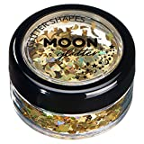 Holographic Glitter Shapes by Moon Glitter – 100% Cosmetic Glitter for Face, Body, Nails, Hair and Lips - 0.10oz - Gold