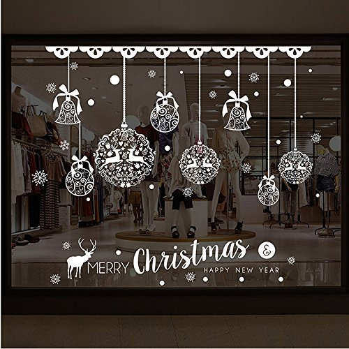 Wall Sticker, HatopChristmas Shop Window Decoration Wall Removable Stickers Christmas Bells - Tower Bell Map Shops