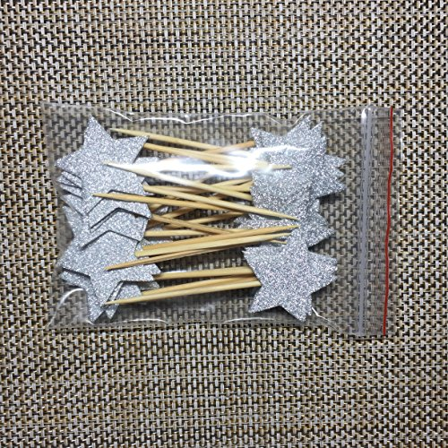 Price comparison product image TooMeeCrafts Double Sided Star Topper Silver Glitter Star Wand Cake Topper Cupcake Topper Wedding Cupcake Toppers Set of 24