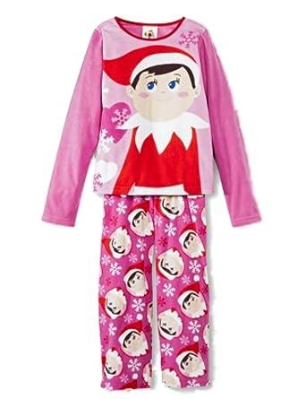 318e1f66da Girls Pink Fleece Elf on the Shelf Pajamas Holiday Sleepwear Set XS