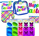 Happy Easter Kitchen Bakeware Supplies Bakeware Starter Set, Oven Mitt, Kitchen Towel,pot Holder, and Baking Mold (COMPLETE SET WITH BONUS SOLAR BUNNY)