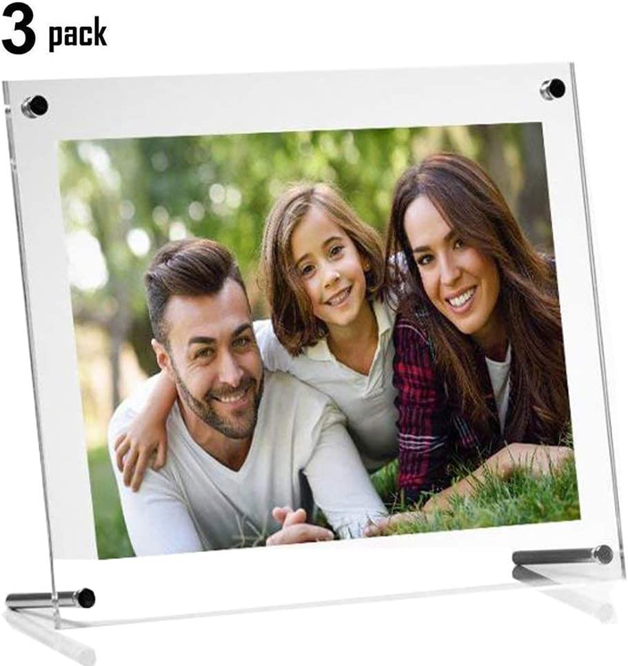 Ailelan Picture Frame, 8.5x11 Clear Acrylic Photo Frame A4 Letter Size Decorative Poster Frame Desktop Tabletop Display(3 Pack)
