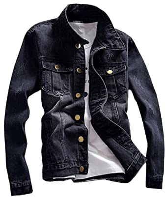 Lifehe 2018 Men Slim Fit Denim Jacket Black Jeans Coat With Patches