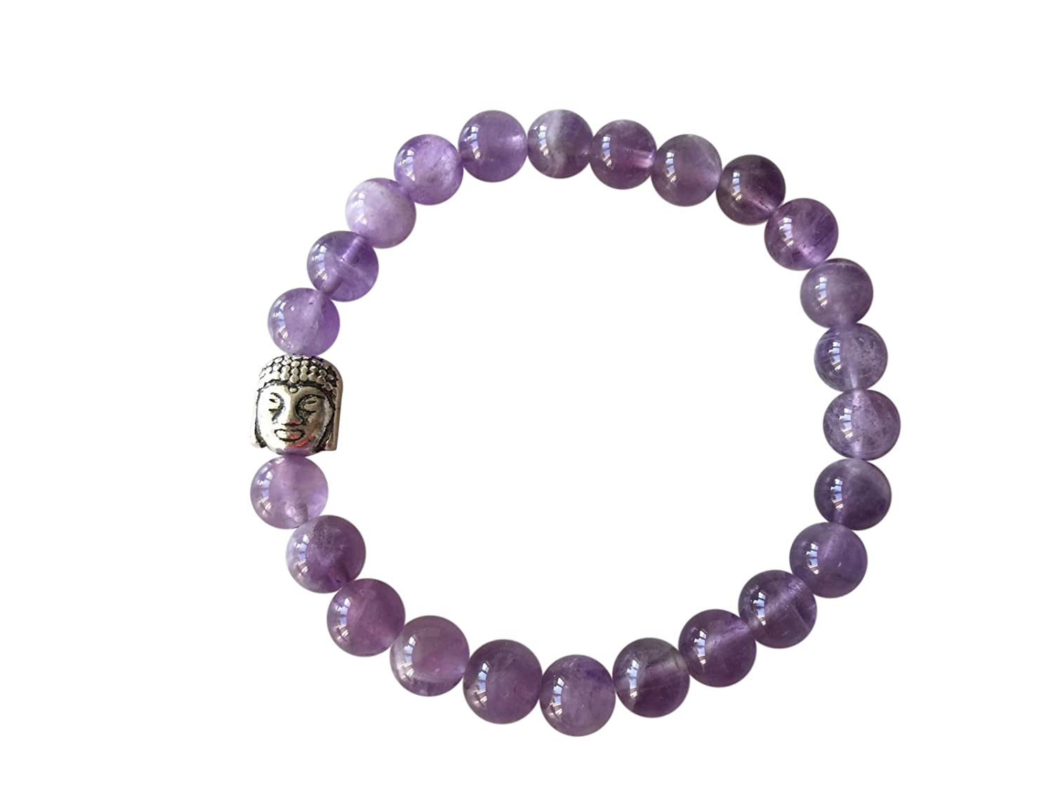 'Body Mind and Soul' Genuine Amethyst Gemstone Chakra Bead Buddha Bracelet ~ Natural Stones Ethically Sourced from Western Hills of India ~ Handmade Jewellery in Gift Box …