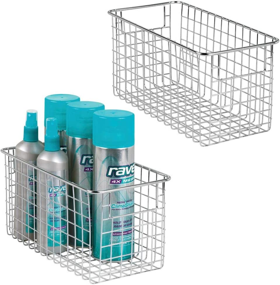 mDesign Bathroom Metal Wire Storage Organizer Bin Basket Holder with Handles - for Cabinets, Shelves, Closets, Countertops, Bedrooms, Kitchens, Garage, Laundry, 2 Pack - Chrome