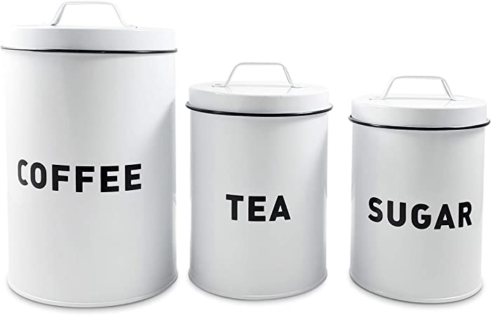 Coffee Tea Sugar Canister Set - 3 Piece Modern Farmhouse Kitchen Decor Counter-top Metal Storage Containers