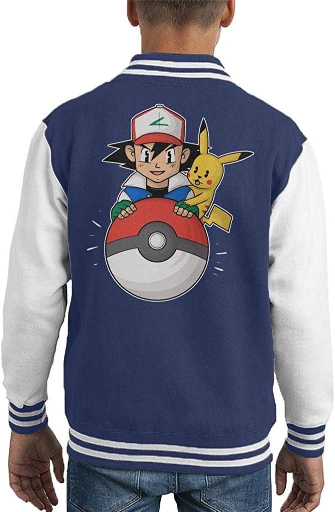 My Pokeball Ash and Pikachu Kids Varsity Jacket