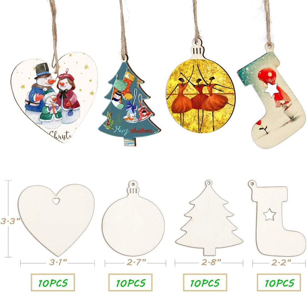 Natural Wood Slices Unfinished Wood Ornament for Crafts Wooden Christmas Ornaments Blanks Predrilled with Hole DIY Round Wooden Craft Supplies for kids to Paint Bulk Christmas in Crafts 30Pcs 2.8
