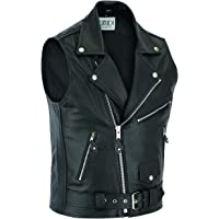 Leren vest voor heren, leren vest, motorvest, biker, rocker, clubvest, motorvest, Brando Rockabilly, zwart