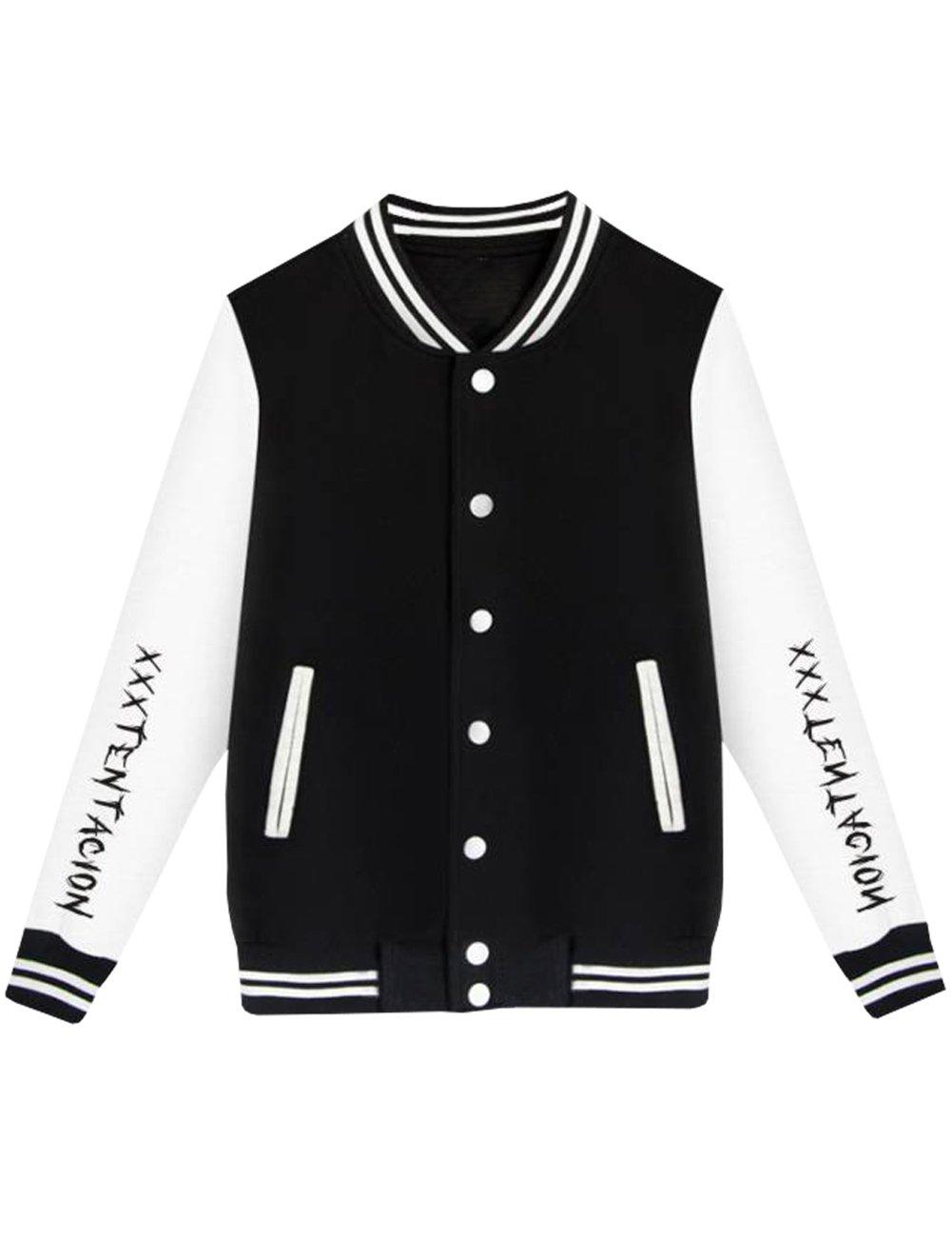 Detroital Unisex Xxxtentacion Baseball Jacket Sad Heart Graphic Rap Sweatshirt Black L