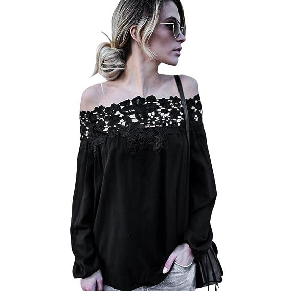 Hevoiok Damen Sexy Schulterfrei Oberteile, Neu Mode Freizeit Frühling  Sommer Shirt Kalte Schulter Spitze Hemd cf5e78e8d2