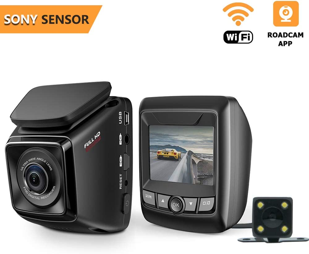 Dash Cam Full HD 1080P Car DVR with WiFi and 6-Lane 170° Wide Angle Lens, Dual Channel Dashboard Camera Recorder with Rear Camera WDR, Loop Recording, G-Sensor Include 16GB Memory Card