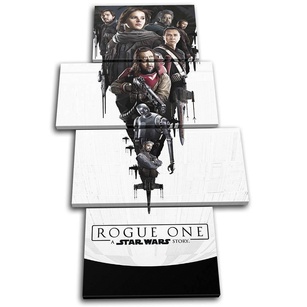 Bold Bloc Design - Star Wars Wars Wars Rogue One Poster Gaming 160x90cm MULTI Leinwand Kunstdruck Box gerahmte Bild Wand hangen - handgefertigt In Grossbritannien - gerahmt und bereit zum Aufhangen - Canvas Art Print 13-2456(00B)-MP04-PO-C 832083