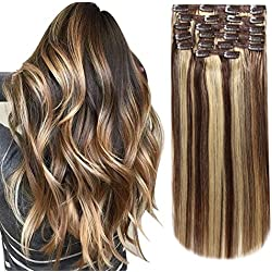 HEESAGA Clip in Hair Extensions Real Human Hair, 16 Inch 120 Grams/4.2 Ounce, 10 Pieces with 22 Clips per Set (#4/27 Medium Brown/Dark Blonde)