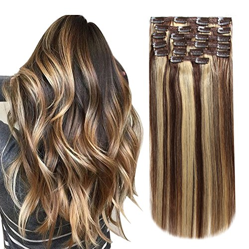 HEESAGA Clip in Real Human Hair Extensions, 14 Inch 120 Grams/4.2 Ounce 10 Pieces with 22 Clips per Set (#4/27 Medium Brown/Dark Blonde) (Best Beauty Supply Hair For Sew In)