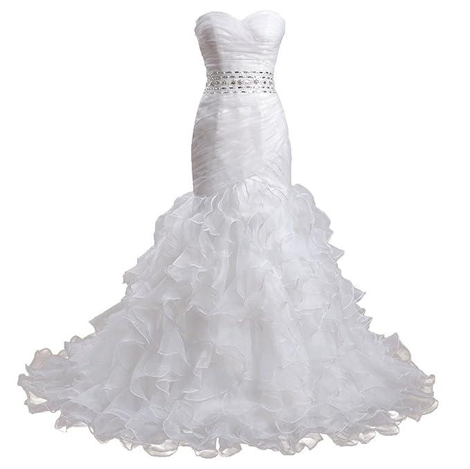 meibida Mujer sirena vestidos de boda de Organza sin mangas escote corazón largo sin espalda vestido