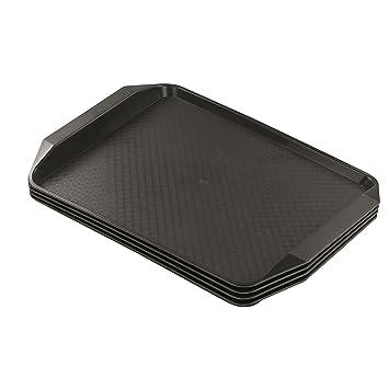Hokky - Bandejas rectangulares de plástico para servir alimentos, color marrón, juego de 4