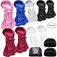 9 PCS Silky Durag Caps Silky Long Tail Headwraps Doo Rags Wide Strap Satin Durag For Men Waves With 3 PCS Elastic Wave Cap