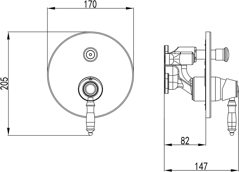 PaulGurkes Action Select Armatur 2-Wege Unterputz f/ür Grundk/örper PGBASIC Duscharmatur Mischbatterie Wannenarmatur Push Knopf