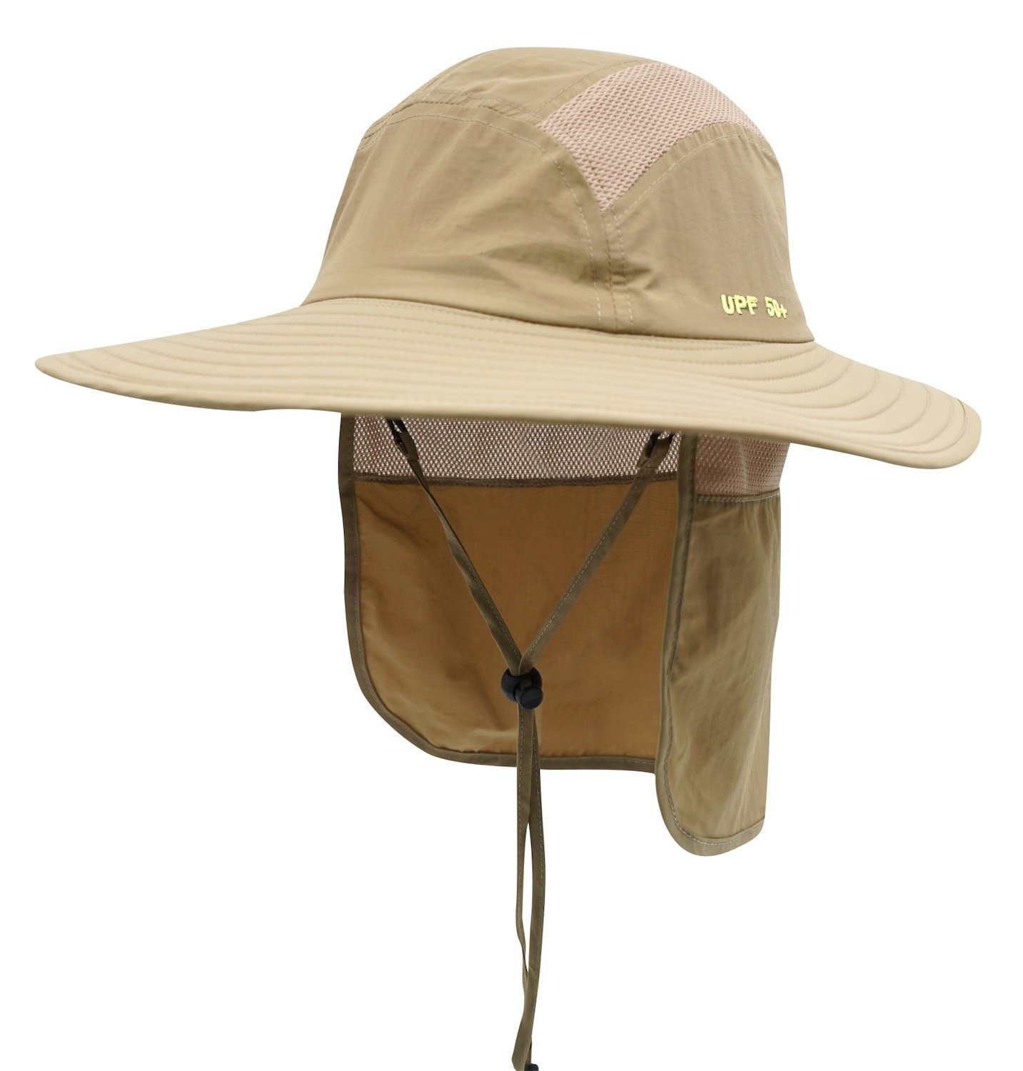 Home Prefer Adult UPF 50+ Sun Protection Cap Wide Brim Fishing Hat with Neck Flap Khaki