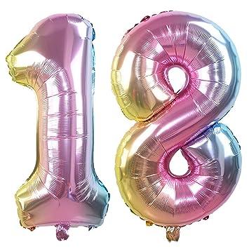 Ouinne Globo 18 Años, 32 Pulgadas Globo del Cumpleaños Número 18 Helio Globos para La Decoración Boda Aniversario (Rainbow)