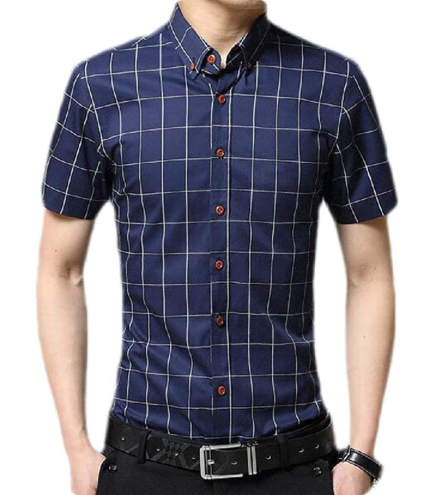Sweatwater Mens Casual Checkered Button Front Short Sleeve Slim Fit Shirts