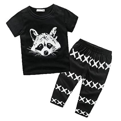 Belleza clubes Toddler Baby Girl Boy Fox Camisetas Pantalones Leggings 2pcs trajes de ropa (80