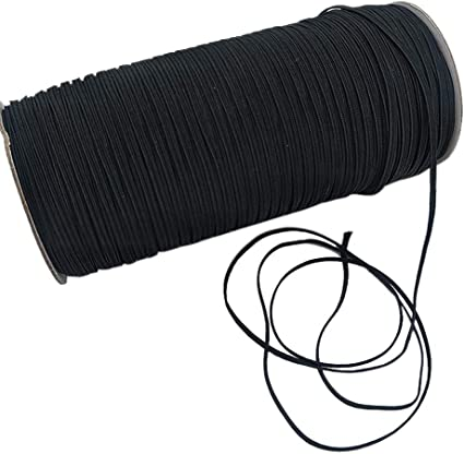 3mm 1//8 Inch Elastic Stretch Band Flat Spool Sewing Band Cord Rope Strings Black