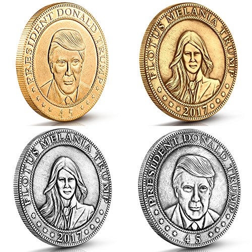 Donald and Melania Trump Antique Commemorative Coins. These 4 vintage finish gold and silver collectibles are Timeless Collection minted by Presidential Mint commissioned by designer Michael Zweig